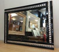 Frameless Bevelled Crystal Border Black & Silver Mirror 80cm x 60cm