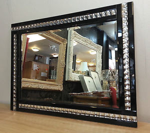 Frameless Bevelled Crystal Border Black & Silver Mirror 80cm x 60cm