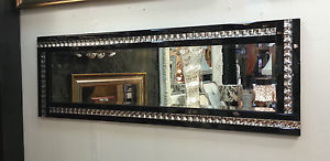 Frameless Bevelled Crystal Border Black & Silver Mirror 120cm x 40cm
