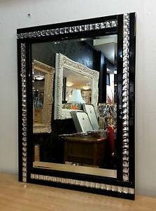 Frameless Bevelled Crystal Border Black & Silver Mirror 120cm x 80cm