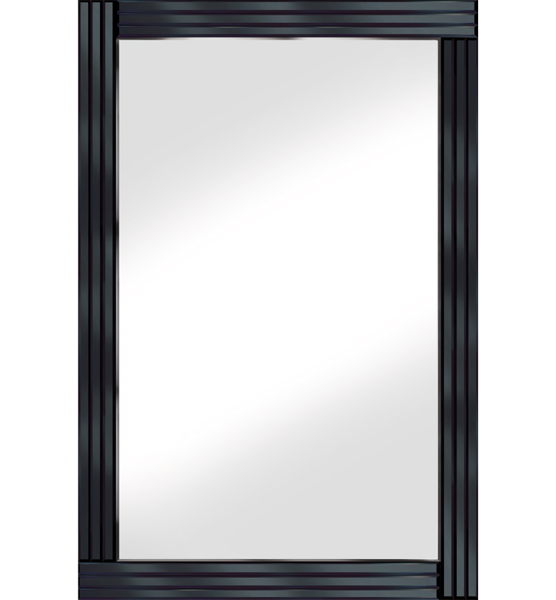 Frameless Bevelled Triple Band Black Mirror 120cm x 80cm