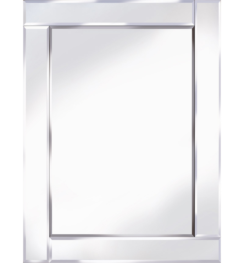Frameless Bevelled Flat Bar Silver Mirror 80cm x 60cm