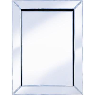 Frameless Bevelled Mitred Corner Silver Mirror 80cm x 60cm