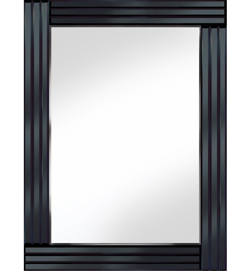 Frameless Bevelled Triple Band Black Mirror 80cm x 60cm