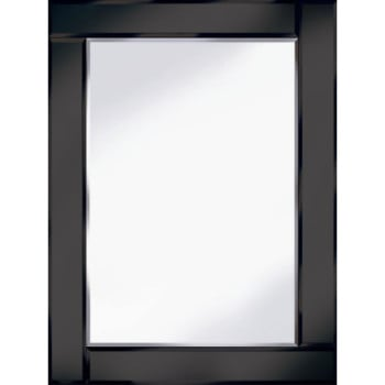 Frameless Bevelled Flat Bar Black Mirror 80cm x 60cm