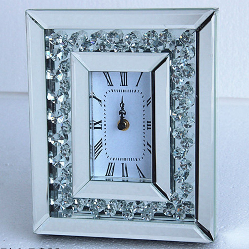 Floating Crystals Mirrored Clock 25cm x 21cm