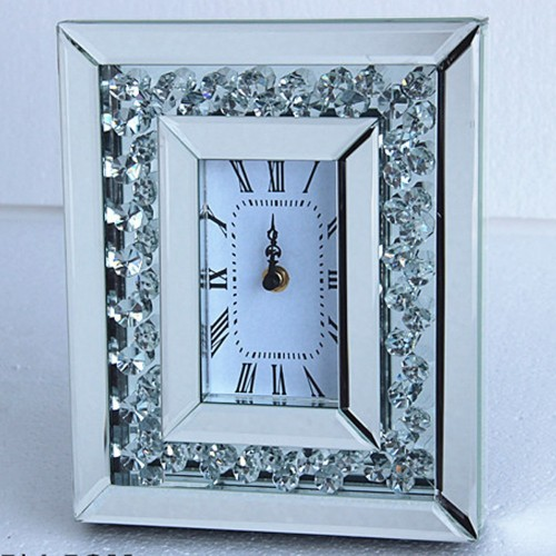 Floating Crystals Mirrored Clock 26cm X 21cm Now In Stock