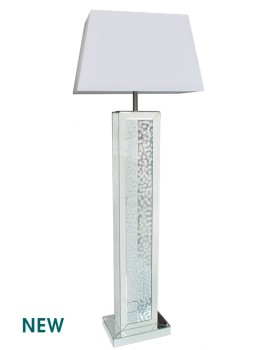 Floor Lit Floating Crystals Mirrored Tall Lamp 156cm