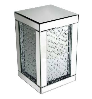 Floating Crystals Mirrored Pedestal  / Lamp Table 51cm x 31cm x 31cm
