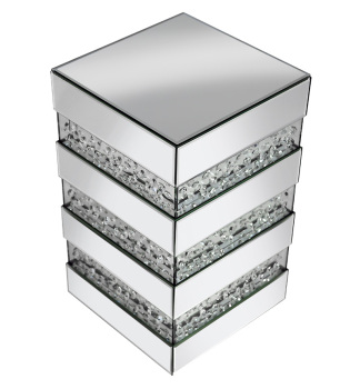 Floating Crystals Mirrored Pedestal  / Lamp Table 61cm x 31cm