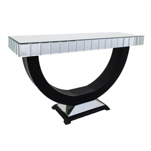 Oval frame Silver Mirrored bevelled Console Table