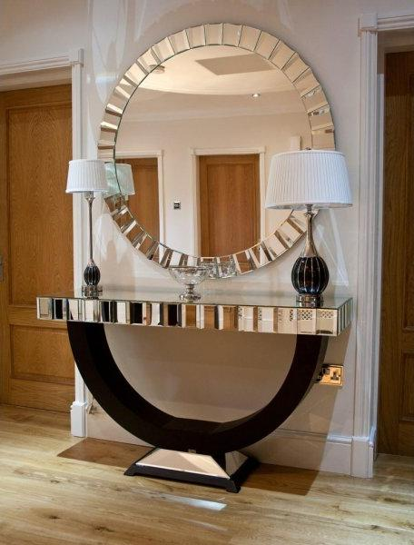 Oval frame Silver Mirrored bevelled Console Table with large Oval Mirror