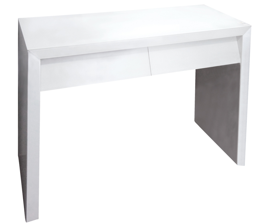 White Gloss 2 Drawer Mirrored Console Table