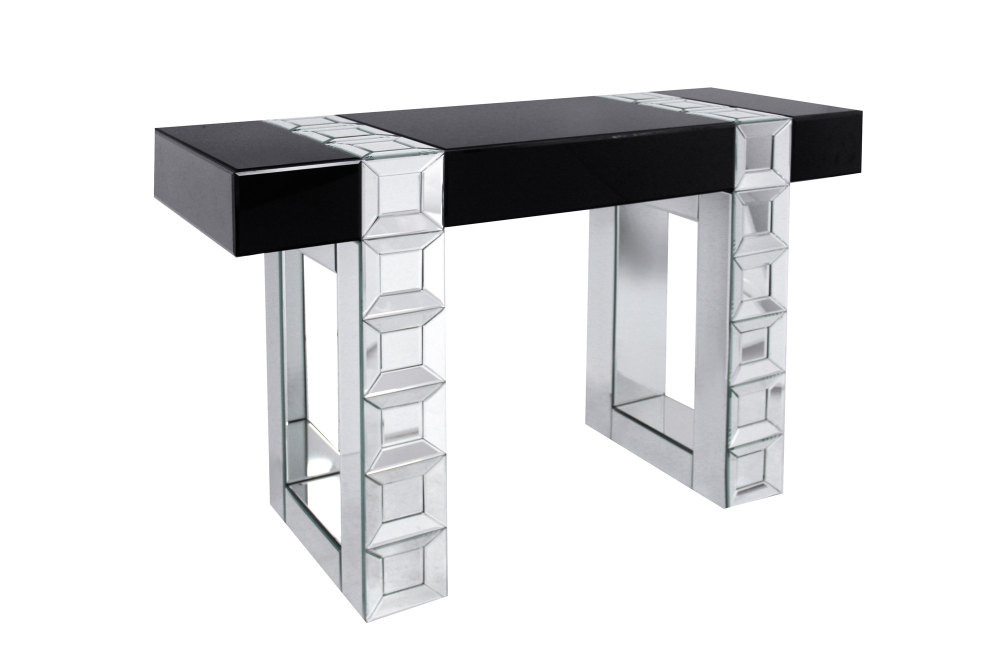 Milan Mirrored Console Table In Silver Bevelled Mirror Amp Black