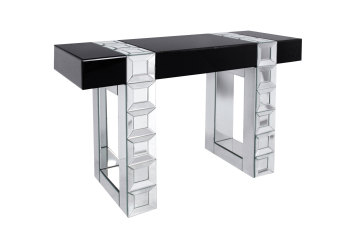 Milan Mirrored Console Table in Silver bevelled Mirror & Black