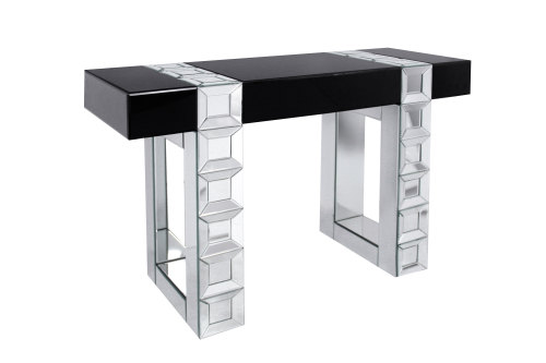 Milan Mirrored Console Table in Silver bevelled Mirror Black