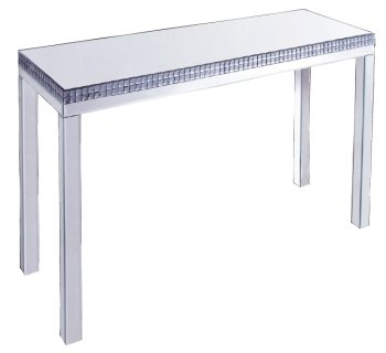 Silver Mirrored Console Table with smoked crystal border 139cm x 48cm x 85cm