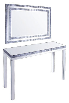 Silver Mirrored Console Table with smoked crystal border & matching Large Mirror