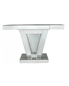 "Floating Crystals ""V"" Mirrored Console Table"