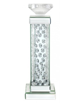 Floating Crystals Mirrored Candle Stick 47cm x 13cm