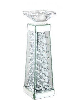 Floating Crystals Mirrored Candle Stick 35cm x 10cm