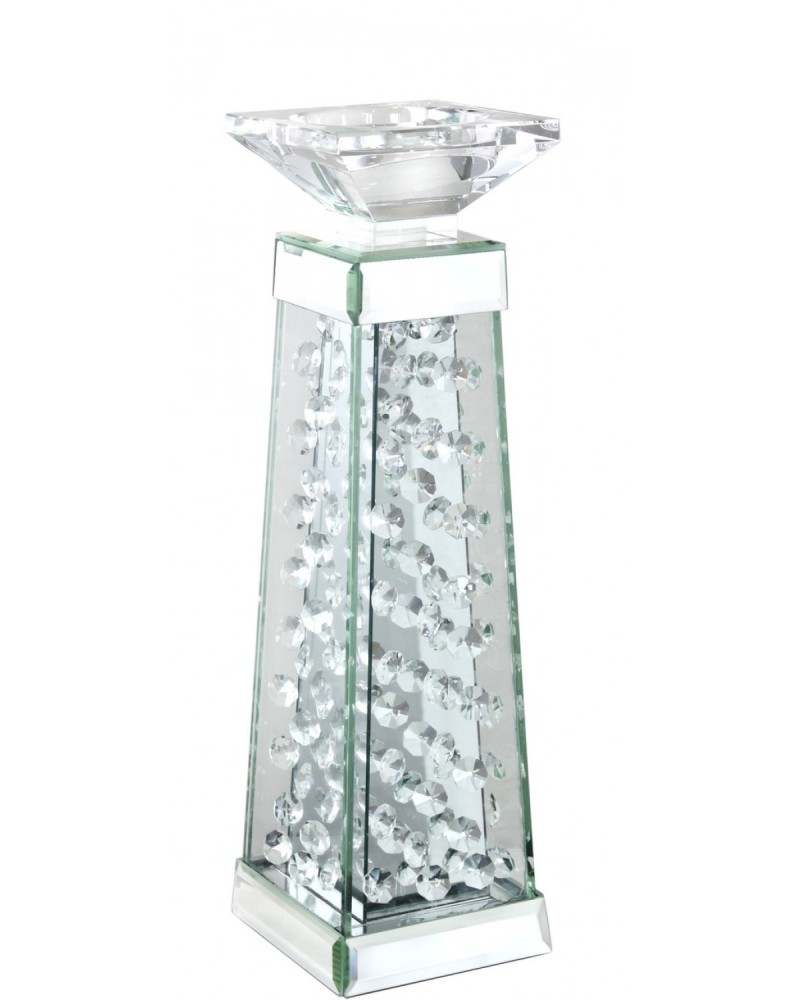 Floating Crystals Mirrored Candle Sticks (pair)