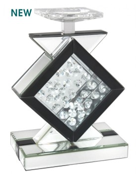 Floating Crystals Silver & Black  Candle Stick 24cm x 20cm