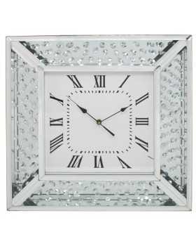 Floating Crystals Mirrored Square Clock 50cm x 50cm