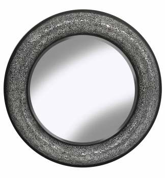 Round Crushed glass Mosaic Sparkle Bevelled Mirror in Silver / Black