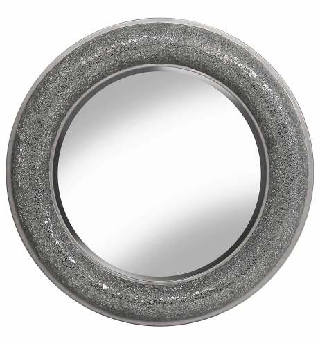 Round Crushed glass Mosaic Sparkle Bevelled Mirror in Silver