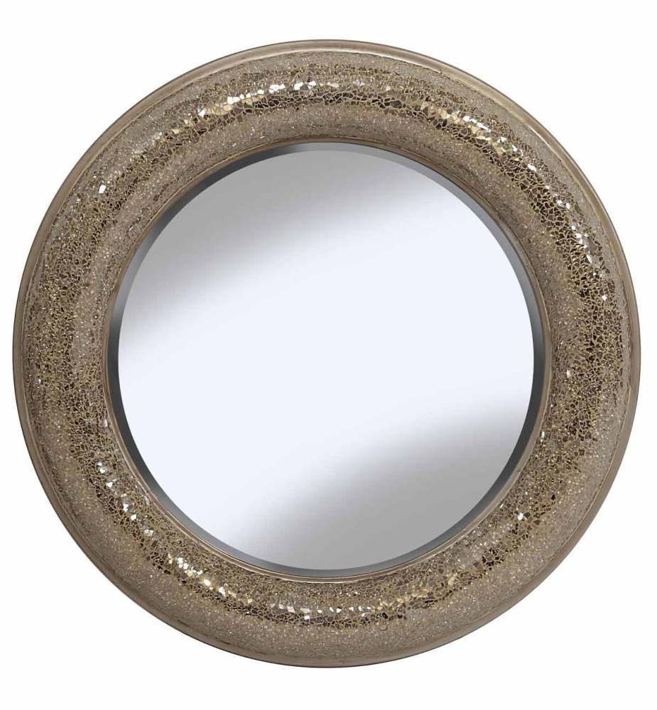 Round Crushed glass Mosaic Sparkle Bevelled Double Band Mirror in Champagne