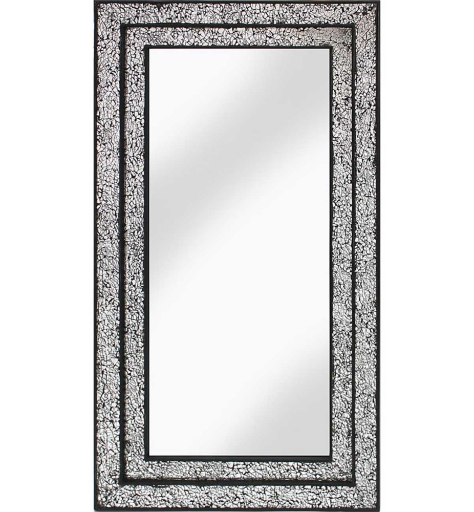 Rectangular Crushed glass Mosaic Sparkle Bevelled Double Band Mirror in Sil