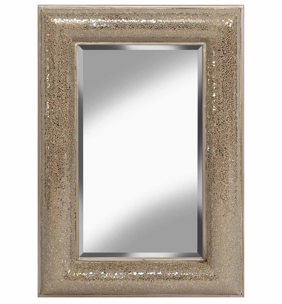Rectangular Crushed Glass Mosaic Sparkle Bevelled Mirror In Champagne