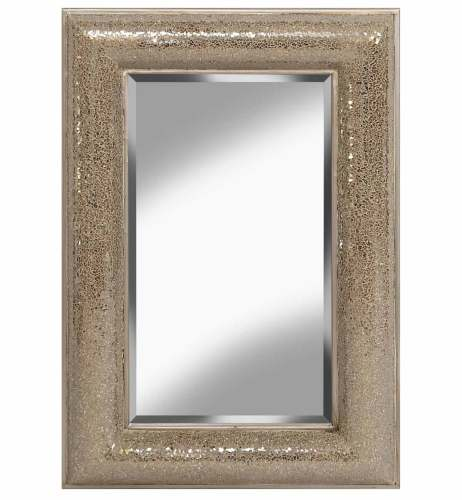 Rectangular Crushed glass Mosaic Sparkle Bevelled Double Band Mirror in Cha