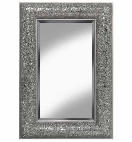 Rectangular Crushed glass Mosaic Sparkle Bevelled Mirror in Silver