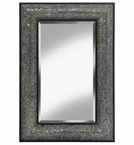 Rectangular Crushed glass Mosaic Sparkle Bevelled Mirror in Silver / Black