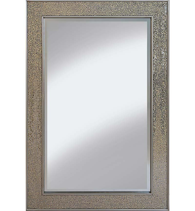 Flat Bar  Crushed glass Mosaic Sparkle Bevelled Mirror in Champagne