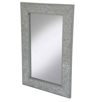 Flat Bar Crushed glass Mosaic Sparkle Bevelled Mirror in Silver - 3 sizes
