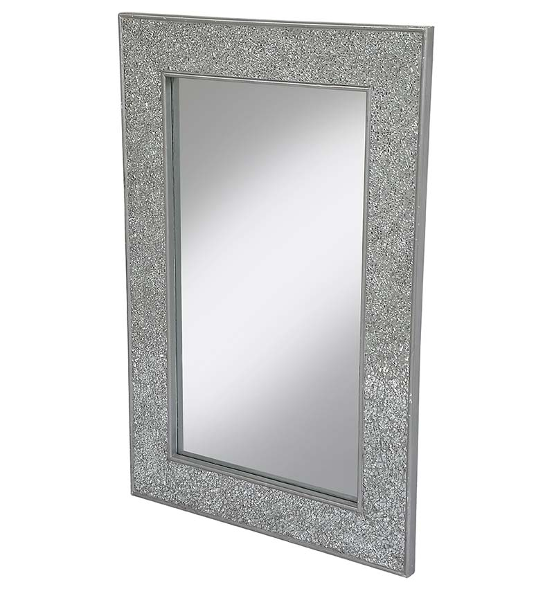 Flat Bar Crushed glass Mosaic Sparkle Bevelled Mirror in Silver