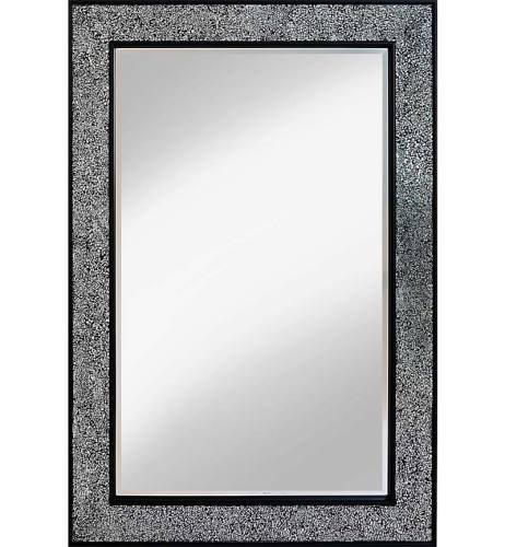 Flat Bar Crushed glass Mosaic Sparkle Bevelled Mirror in Silver / Black