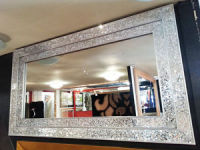 Rectangular Crushed glass Mosaic Sparkle Bevelled Double Band  Mirror in Silver