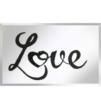"""Liquid Glitter """"LOVE"""" in Black on a Silver Bevelled Mirror 2 sizes"""