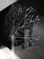 Glitter Tree in Silver on a Black Bevelled Mirror 4 sizes