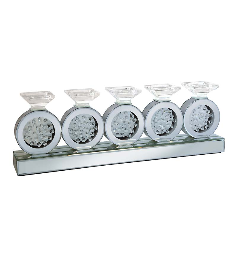 Floating Crystals Mirrored Candle / Tealight Holder 25.5cm x 11cm