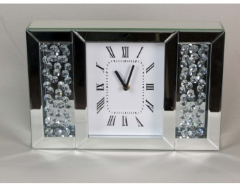 Floating Crystals Mirrored Clock 24cm x 36cm