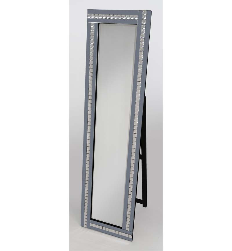 Crystal Mosaic Smoked Grey Bevelled Cheval Mirror 150cm x 40cm