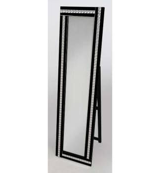 Crystal Mosaic Black Bevelled Cheval Mirror 150cm x 40cm