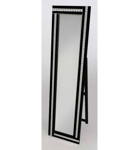 Crystal Mosaic Smoked Silver & Black Bevelled Cheval Mirror 150cm x 40cm