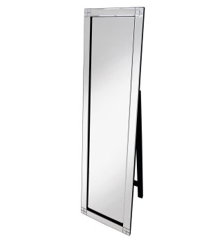 Diamond Cut Corner Silver Bevelled Cheval Mirror 150cm x 40cm