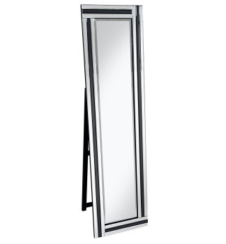 Black & Silver Border Bevelled Cheval Mirror 150cm x 40cm